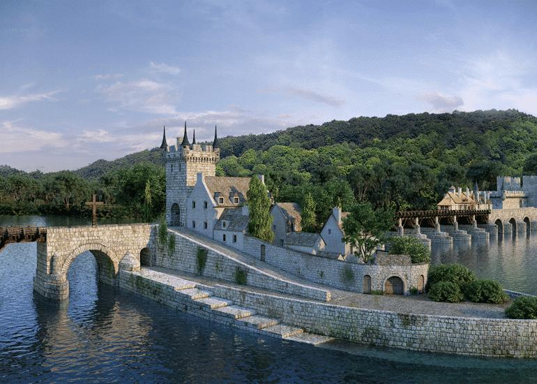 Vue du pont médiéval de Vernon sur l'application Time-Loop